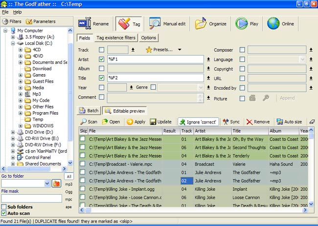 Mass-editing of MP3 Tags - Opus FAQs - Directory Opus Resource Centre